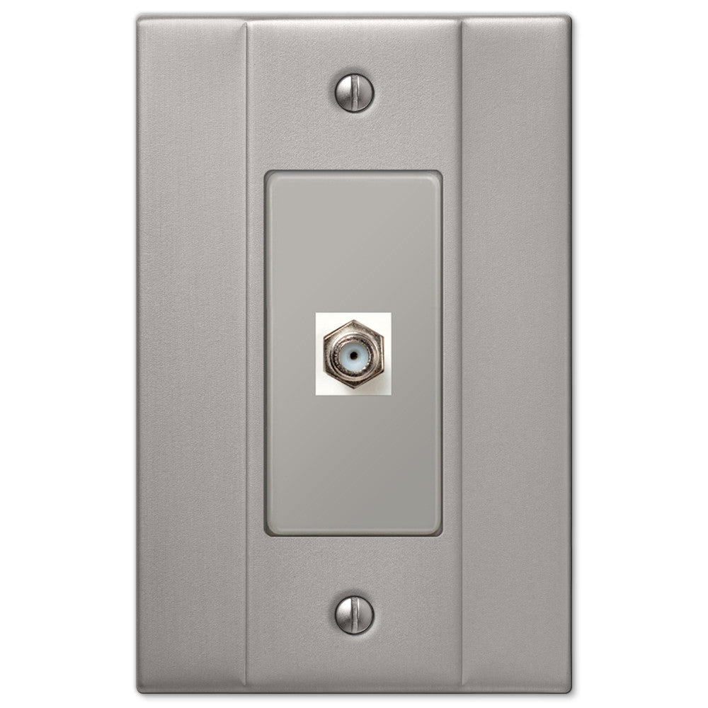 Italia Brushed Nickel Steel - 1 Cable Jack Wallplate - Wallplate Warehouse