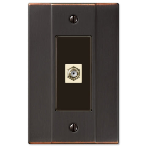 Italia Aged Bronze Steel - 1 Cable Jack Wallplate - Wallplate Warehouse