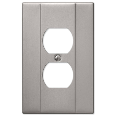 Italia Brushed Nickel Steel - 1 Duplex Outlet Wallplate - Wallplate Warehouse