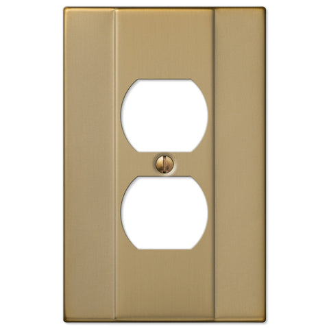 Italia Brushed Bronze Steel - 1 Duplex Outlet Wallplate - Wallplate Warehouse
