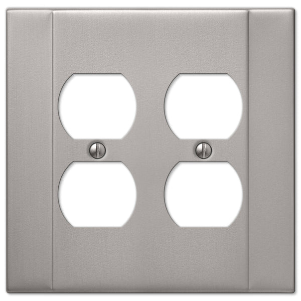 Italia Brushed Nickel Steel - 2 Duplex Outlet Wallplate - Wallplate Warehouse