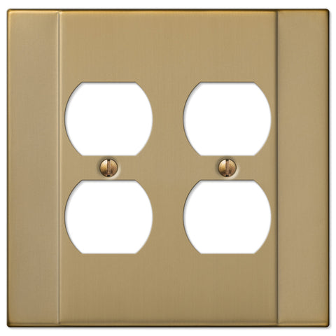 Italia Brushed Bronze Steel - 2 Duplex Outlet Wallplate - Wallplate Warehouse