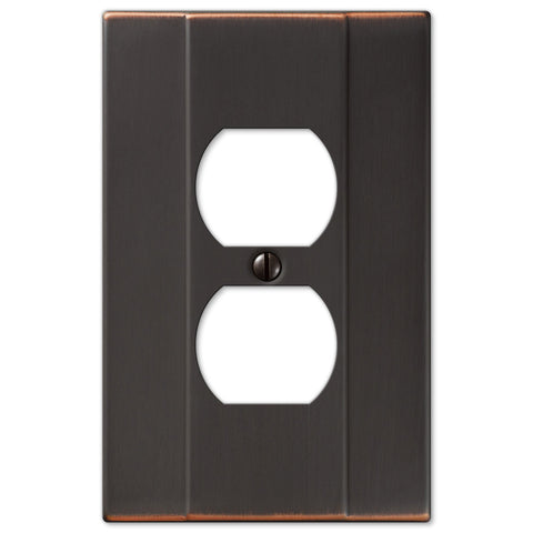 Italia Aged Bronze Steel - 1 Duplex Outlet Wallplate - Wallplate Warehouse