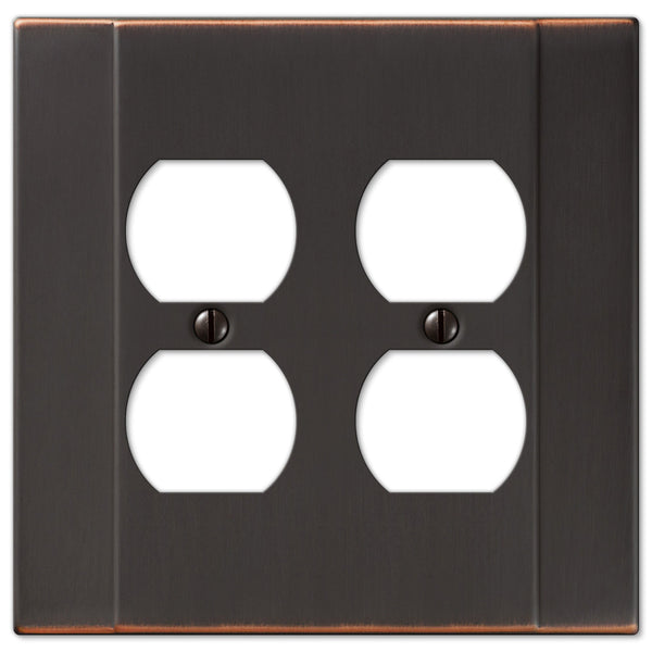 Italia Aged Bronze Steel - 2 Duplex Outlet Wallplate - Wallplate Warehouse