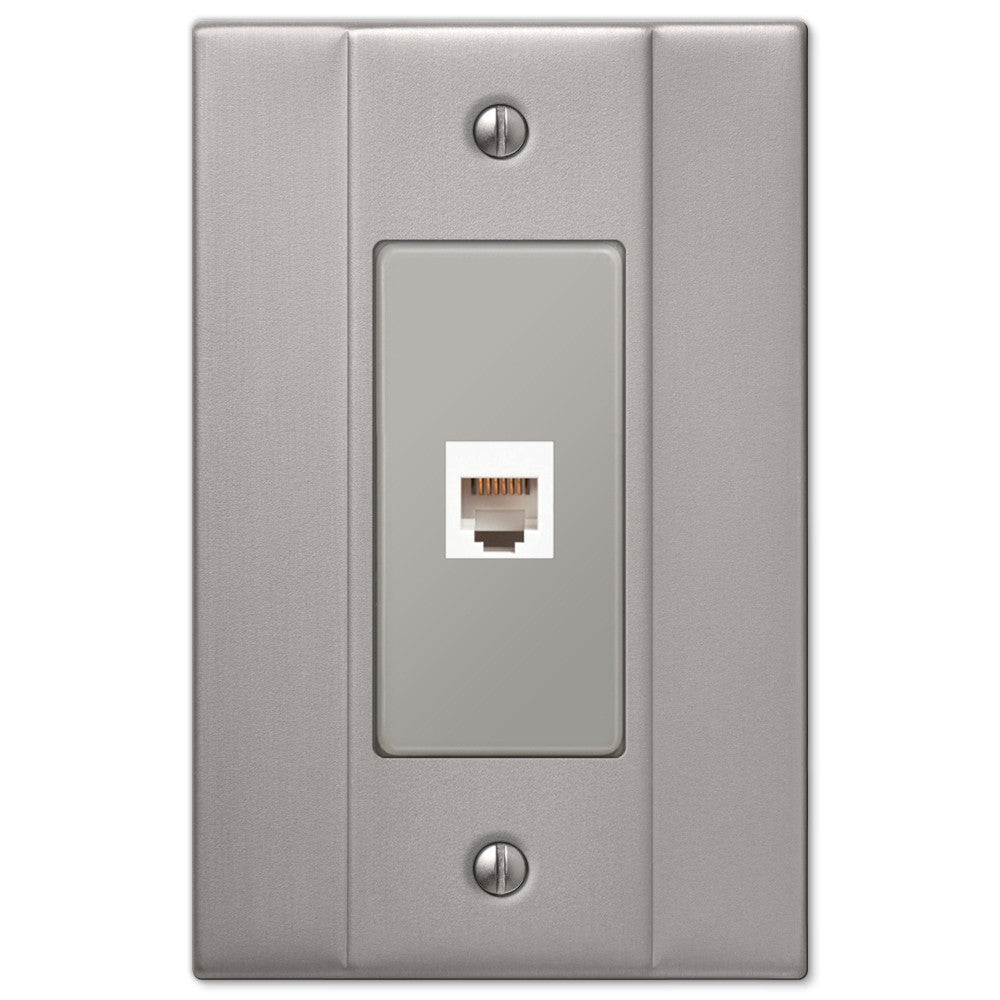Italia Brushed Nickel Steel - 1 Phone Jack Wallplate - Wallplate Warehouse