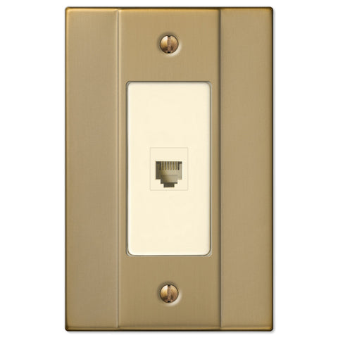 Italia Brushed Bronze Steel - 1 Phone Jack Wallplate - Wallplate Warehouse