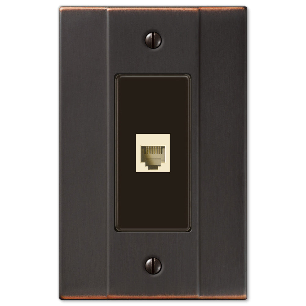 Italia Aged Bronze Steel - 1 Phone Jack Wallplate - Wallplate Warehouse