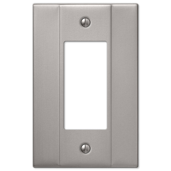Italia Brushed Nickel Steel - 1 Rocker Wallplate - Wallplate Warehouse