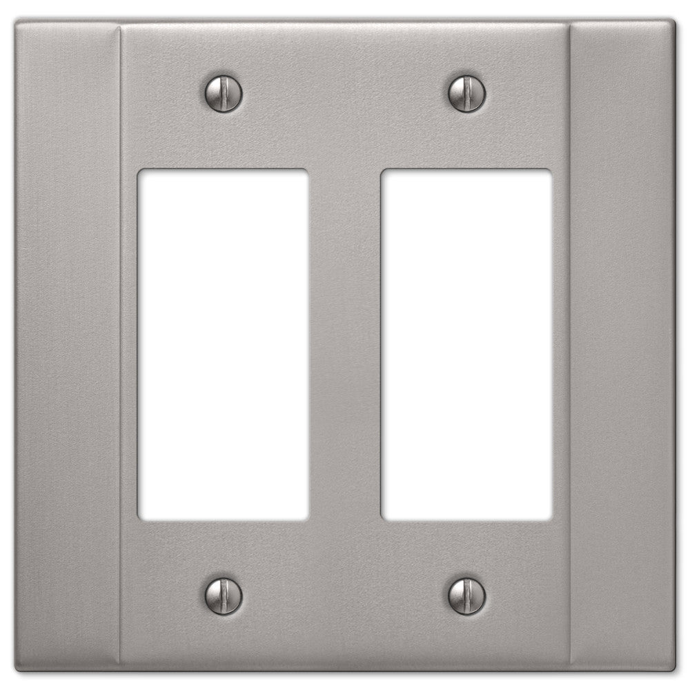 Italia Brushed Nickel Steel - 2 Rocker Wallplate - Wallplate Warehouse