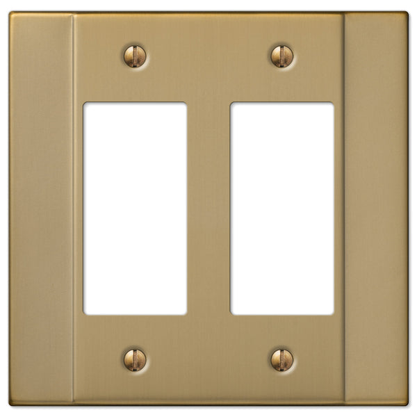 Italia Brushed Bronze Steel - 2 Rocker Wallplate - Wallplate Warehouse