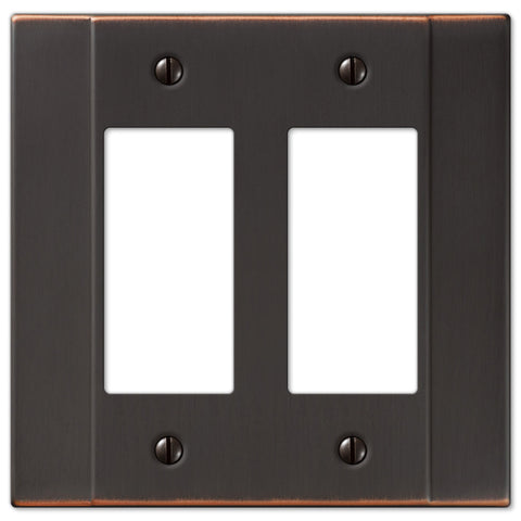 Italia Aged Bronze Steel - 2 Rocker Wallplate - Wallplate Warehouse