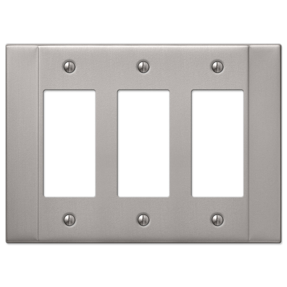 Italia Brushed Nickel Steel - 3 Rocker Wallplate - Wallplate Warehouse