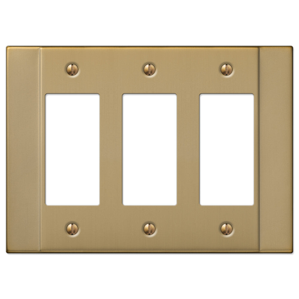 Italia Brushed Bronze Steel - 3 Rocker Wallplate - Wallplate Warehouse