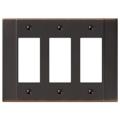 Italia Aged Bronze Steel - 3 Rocker Wallplate - Wallplate Warehouse