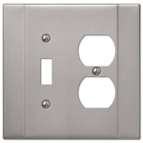 Italia Brushed Nickel Steel - 1 Toggle / 1 Duplex Outlet Wallplate - Wallplate Warehouse