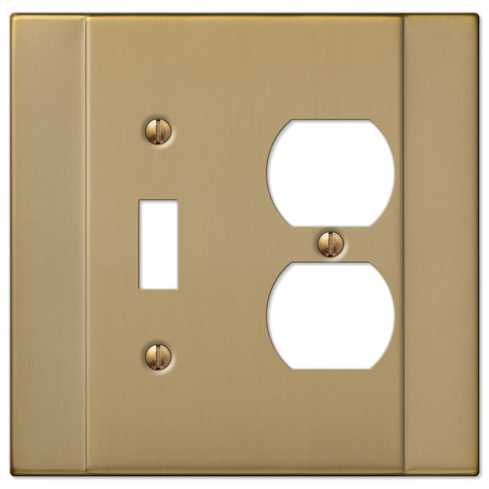 Italia Brushed Bronze Steel - 1 Toggle / 1 Duplex Outlet Wallplate - Wallplate Warehouse