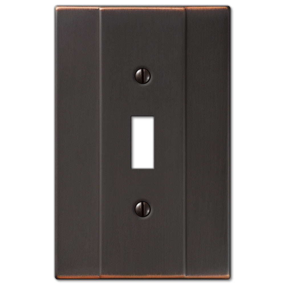 Italia Aged Bronze Steel - 1 Toggle Wallplate - Wallplate Warehouse