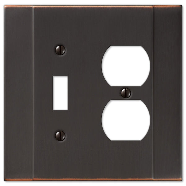 Italia Aged Bronze Steel - 1 Toggle / 1 Duplex Outlet Wallplate - Wallplate Warehouse