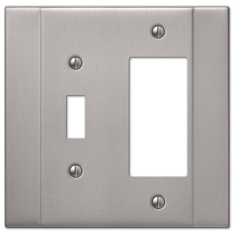 Italia Brushed Nickel Steel - 1 Toggle / 1 Rocker Wallplate - Wallplate Warehouse