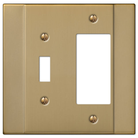 Italia Brushed Bronze Steel - 1 Toggle / 1 Rocker Wallplate - Wallplate Warehouse