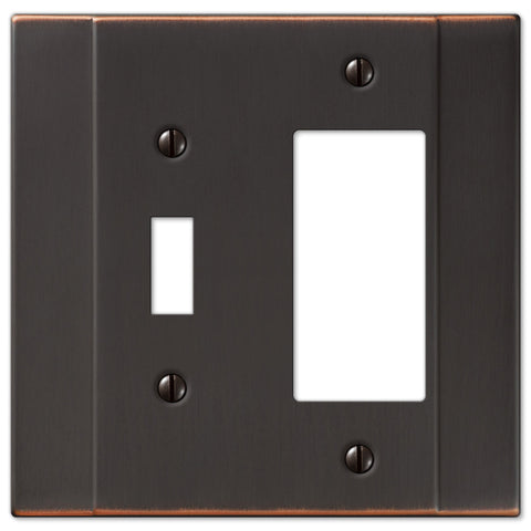 Italia Aged Bronze Steel - 1 Toggle / 1 Rocker Wallplate - Wallplate Warehouse