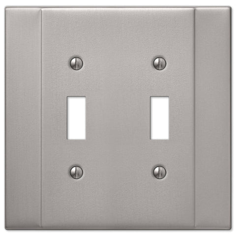 Italia Brushed Nickel Steel - 2 Toggle Wallplate - Wallplate Warehouse