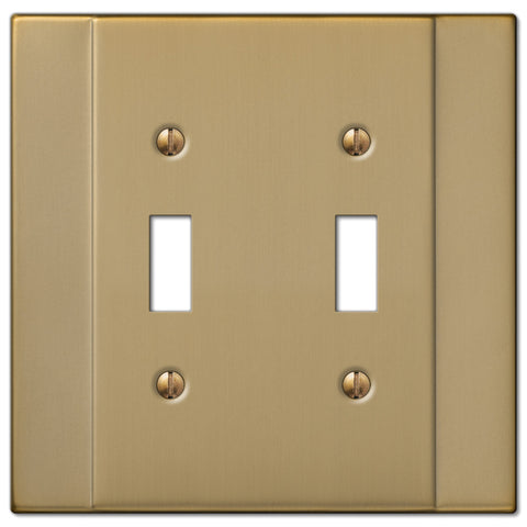 Italia Brushed Bronze Steel - 2 Toggle Wallplate - Wallplate Warehouse