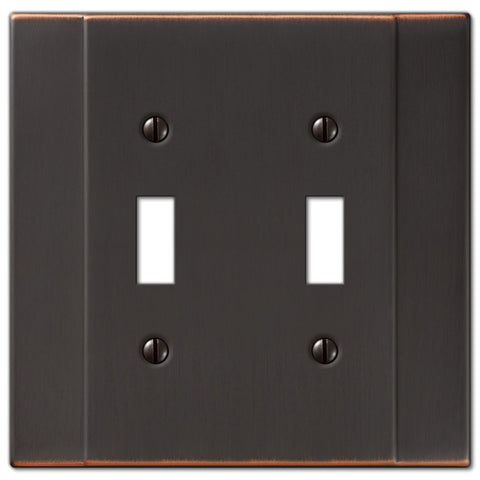 Italia Aged Bronze Steel - 2 Toggle Wallplate - Wallplate Warehouse