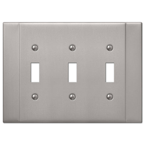 Italia Brushed Nickel Steel - 3 Toggle Wallplate - Wallplate Warehouse