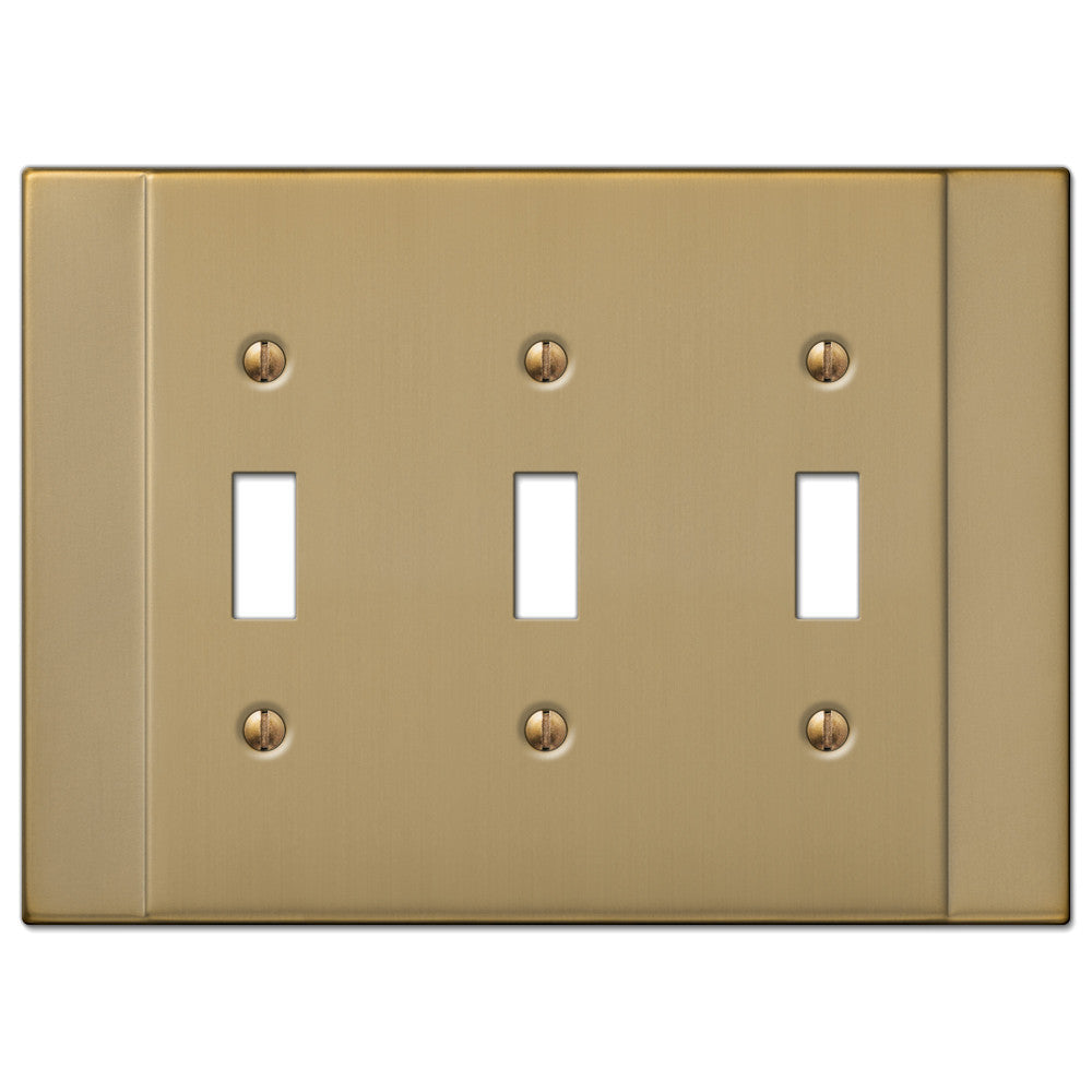 Italia Brushed Bronze Steel - 3 Toggle Wallplate - Wallplate Warehouse