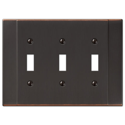 Italia Aged Bronze Steel - 3 Toggle Wallplate - Wallplate Warehouse