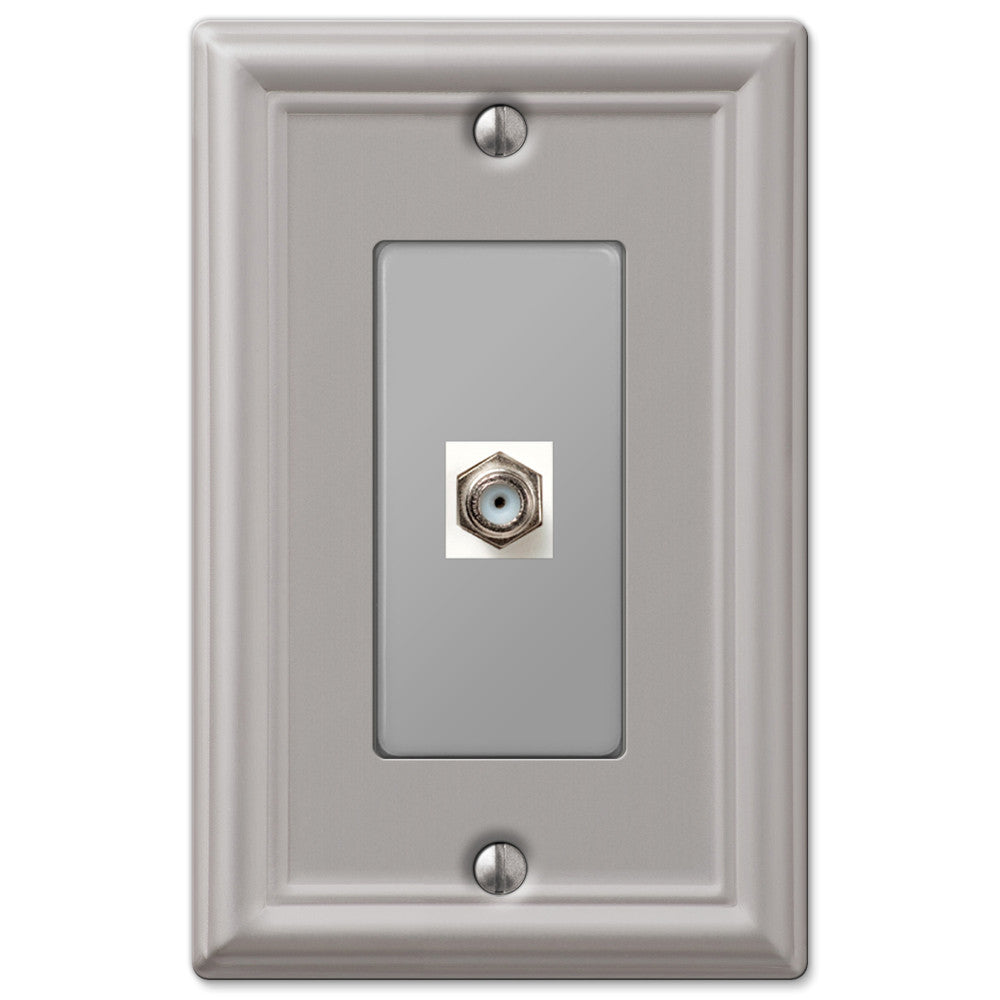 Chelsea Brushed Nickel Steel - 1 Cable Jack Wallplate - Wallplate Warehouse