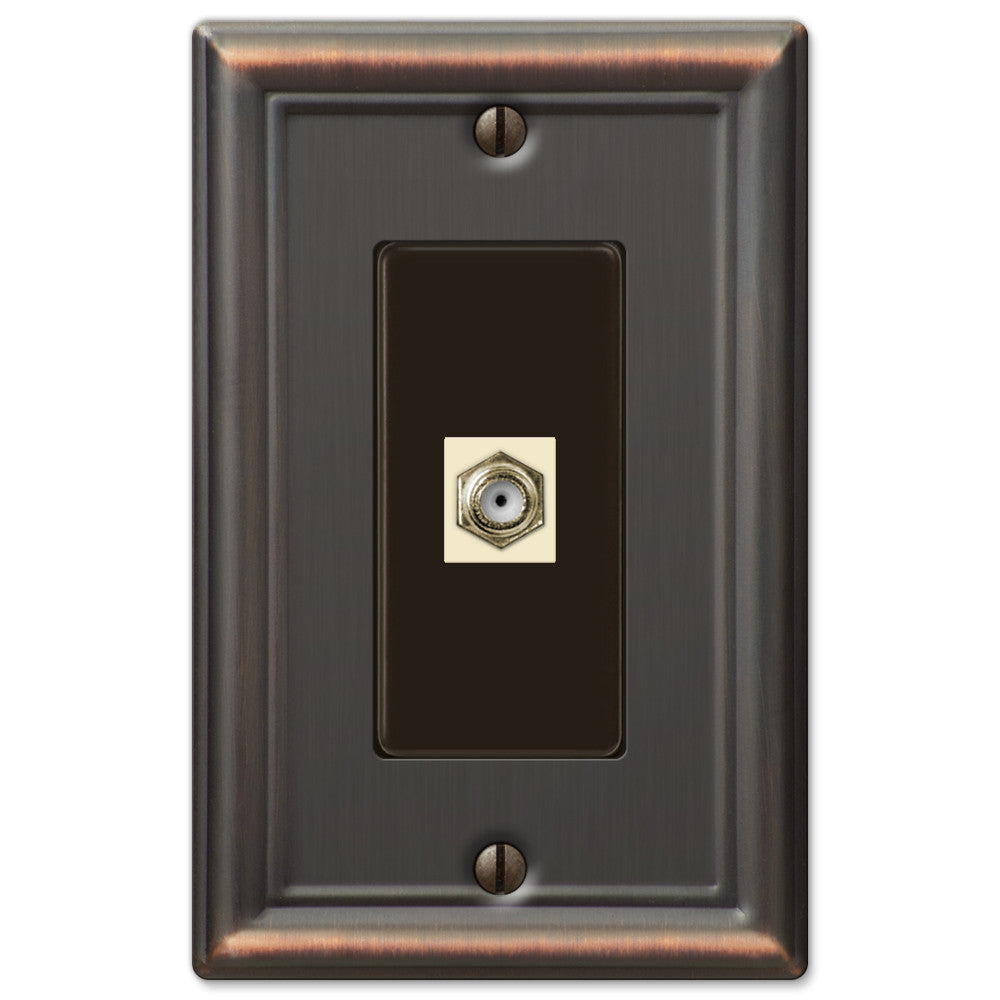Chelsea Aged Bronze Steel - 1 Cable Jack Wallplate - Wallplate Warehouse