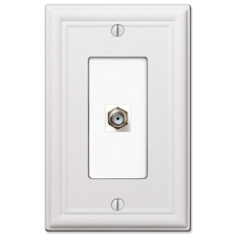 Chelsea White Steel - 1 Cable Jack Wallplate