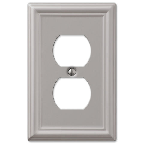 Chelsea Brushed Nickel Steel - 1 Duplex Outlet Wallplate - Wallplate Warehouse