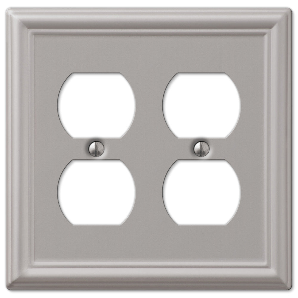 Chelsea Brushed Nickel Steel - 2 Duplex Outlet Wallplate - Wallplate Warehouse