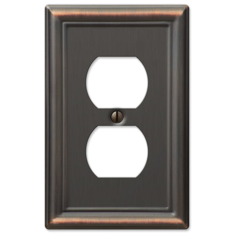 Chelsea Aged Bronze Steel - 1 Duplex Outlet Wallplate - Wallplate Warehouse