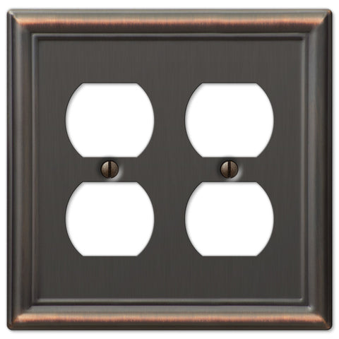 Chelsea Aged Bronze Steel - 2 Duplex Outlet Wallplate - Wallplate Warehouse