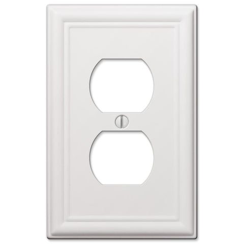 Chelsea White Steel - 1 Duplex Outlet Wallplate