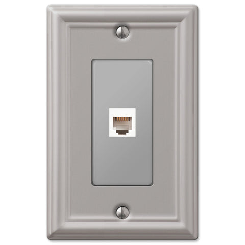 Chelsea Brushed Nickel Steel - 1 Phone Jack Wallplate - Wallplate Warehouse