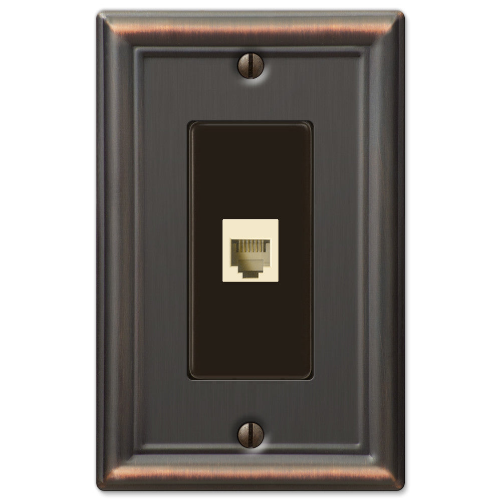 Chelsea Aged Bronze Steel - 1 Phone Jack Wallplate - Wallplate Warehouse