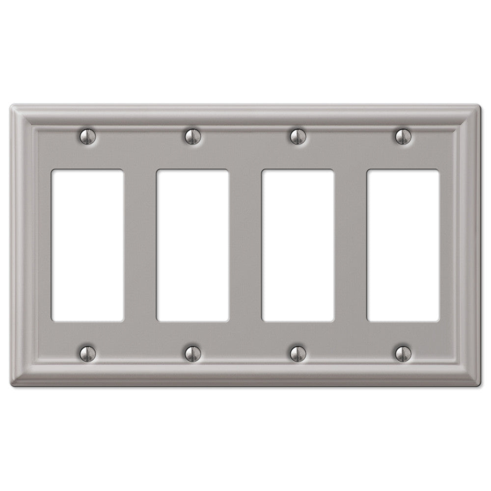 Chelsea Brushed Nickel Steel - 4 Rocker Wallplate - Wallplate Warehouse