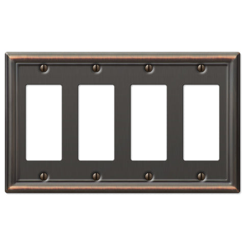 Chelsea Aged Bronze Steel - 4 Rocker Wallplate - Wallplate Warehouse
