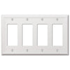 Chelsea White Steel - 4 Rocker Wallplate