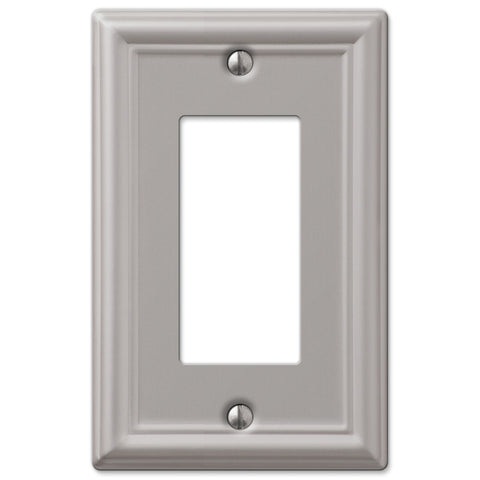 Chelsea Brushed Nickel Steel - 1 Rocker Wallplate - Wallplate Warehouse