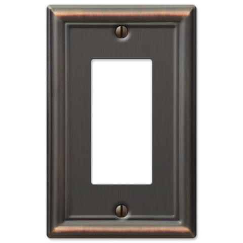 Chelsea Aged Bronze Steel - 1 Rocker Wallplate - Wallplate Warehouse