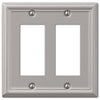 Chelsea Brushed Nickel Steel - 2 Rocker Wallplate - Wallplate Warehouse