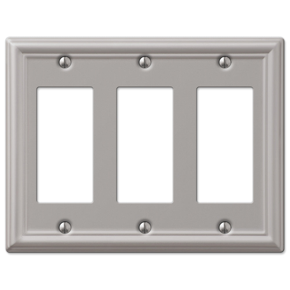 Chelsea Brushed Nickel Steel - 3 Rocker Wallplate - Wallplate Warehouse