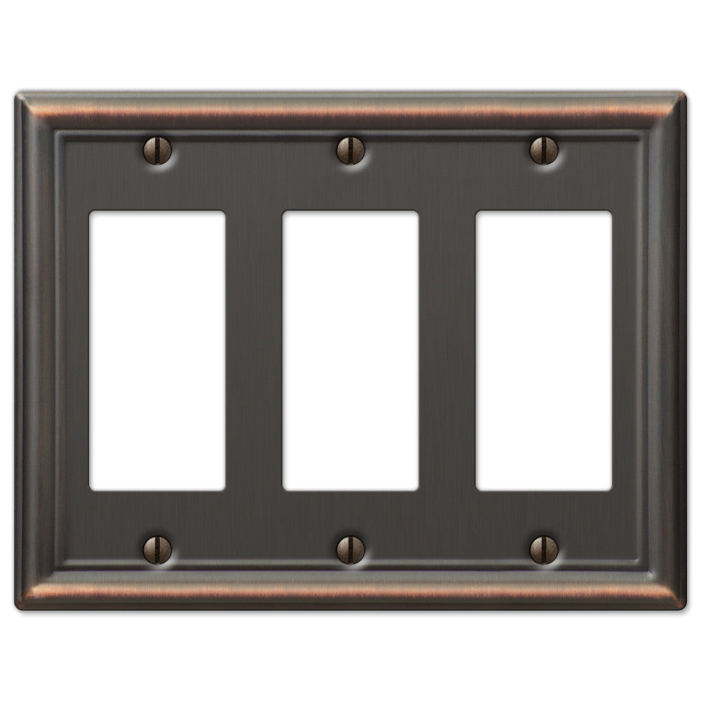 Chelsea Aged Bronze Steel - 3 Rocker Wallplate - Wallplate Warehouse