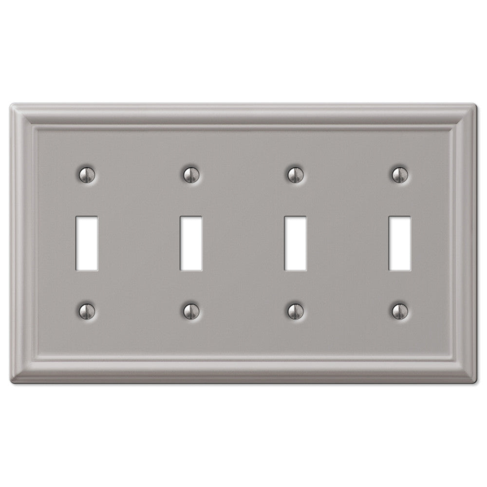 Chelsea Brushed Nickel Steel - 4 Toggle Wallplate - Wallplate Warehouse